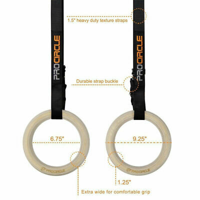 Wood Gymnastic Rings Gym Rings With Adjustable Long Buckles Straps Gym Workout
