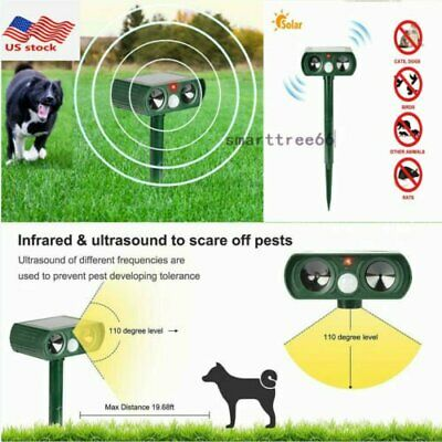 2PCS Solar PIR Motion Sensor Ultrasonic Bird Repeller Pest Bat Animal Scarer AU