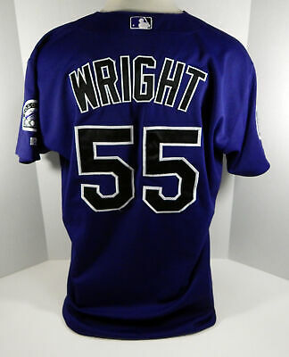 6a478953 Colorado Rockies Jim Wright #55 Game Used Purple Jersey 10 Years Patch