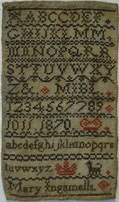 Very Small Mid/Late 19Th Century Alphabet Sampler By Mary Ingamells - 1870