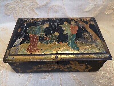 Large Antique Riley's Toffee Tin With Lock