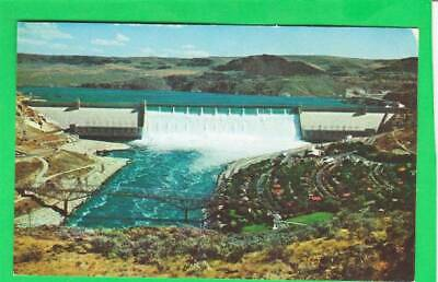 Postcard ~ Grand Coulee dam Columbia River 95 miles west of Spokane ~ Vintage 65