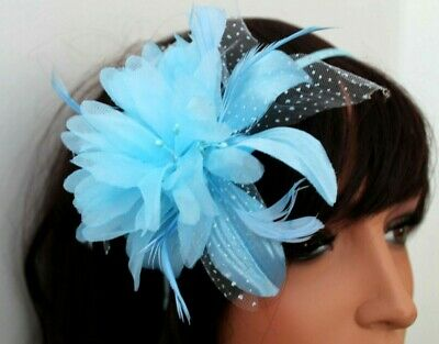Blue Hair Head Alice Band On A Satin Band For Festival Wedding Races Ladies Day