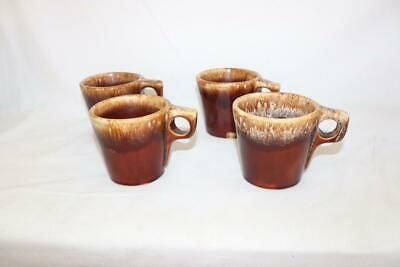 f366d826401 Vintage Set of 4 Hull Pottery Brown Drip Glaze Coffee Mugs Cups Oven Proof  USA