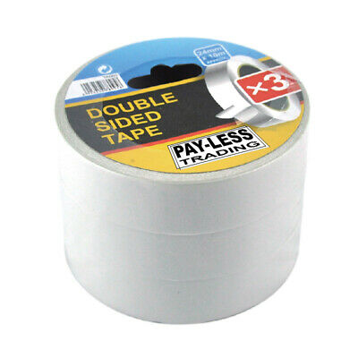 Tape Double Sided 3 Roll Pack 24mm x 10m Payless Trading NEW