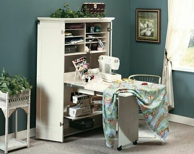 Craft Cabinet Fold Out Table Storage Furniture DIY Art Sewing Work Space Armoire