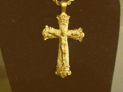 bling gold plated god cross crucifix pendant charm hip hop necklace jewelry gp