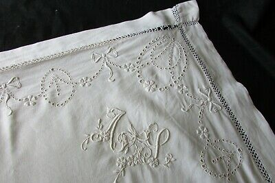 Pretty Pr HUGE Antique French Edwardian Embroidered European Pillow Cases AJ