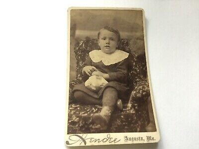 Antique Cabinet Card Victorian Photo Young Boy ~ Hendee Augusta Maine