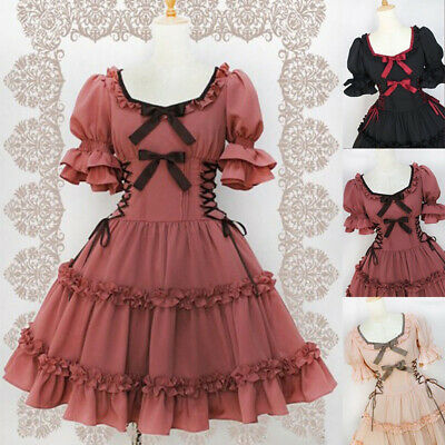 Gothic Women Lolita Bow Knot Lace Up Princess Skirt Puff Sleeve Dress Cosplay