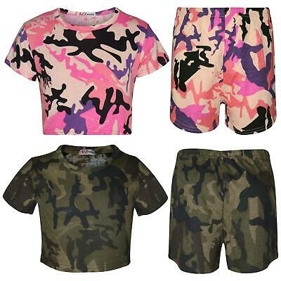 Kids Girls Crop Top & Shorts Camouflage Print Fashion Summer Outfit Sets 5-13 Yr