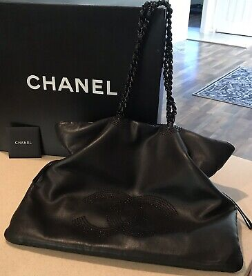 e162eef9b28b Authentic CHANEL CC Logo Chain X-Large Black Leather Cinched Shoulder Tote  Bag