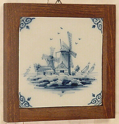 Dutch Delft Delftblue wall tile wood framed ship windmill sailing boats Holland