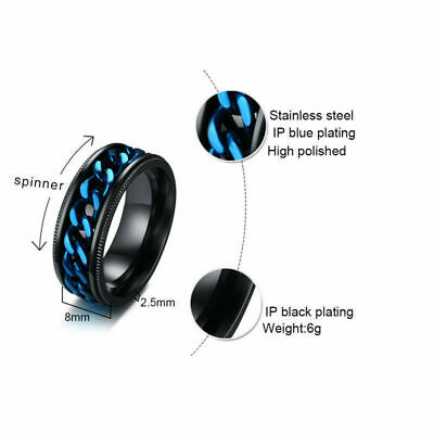 8mm Blue Spinner Chain Band Men's Stainless Steel Wedding New Ring Size 7-13