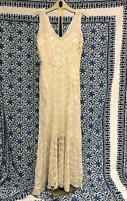 Antique Art Deco Cream Sheer Long Chiffon V Neck Dress With Leaf Embroidery