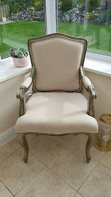 French Louis White & Silver Chair