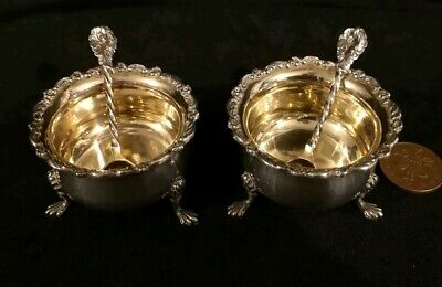 Antique Pair of Large Solid Sterling Silver Table Salts & Spoons Pristine C 1899