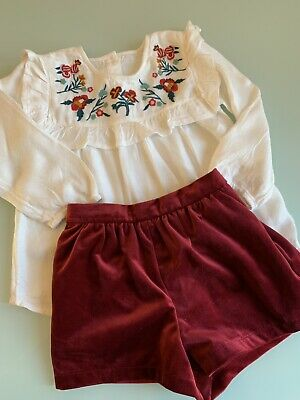 Girls Next Blouse And Velvut Shorts Set Outfit,Size 2-3y, Brand New