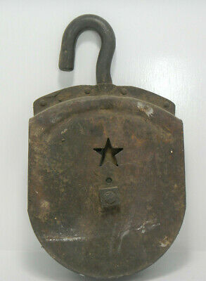 Starline Pulley Rusted Large Industrial Barn w/  Star Rusty Vintage Pully 12inch