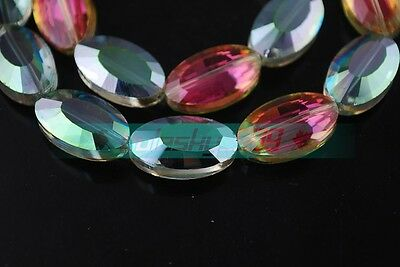 5pcs 22X13mm Big Faceted Oval Crystal Glass Loose Spacer Beads Jewelry Findings