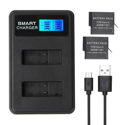 2 Rechargeable Batteries + Dual Slots Battery Charger For GOPRO Hero 7 6 5 GB