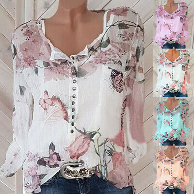 Plus Size Women Boho Floral Long Sleeve Blouse Baggy Tops Ladies Chiffon T Shirt