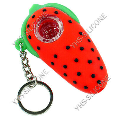 1x 2.7'' strawberry cute mini Silicone hand Smoking Pipe Tobacco Bowl keychain