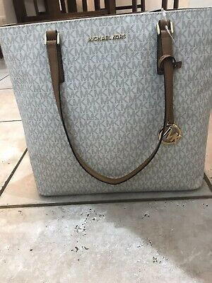 ea0284db9a1a New Authentic Michael Kors Vanilla Morgan Mk Signature Lg Large Tote Pvc  Handbag