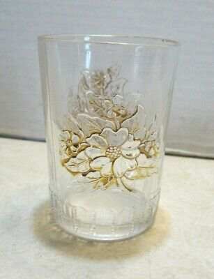 Vintage Clear w Gold Guilded Flowers Short Tumbler Drinking Glass II109