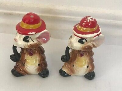 Vintage Set Mice Mouse Smoking A Pipe Salt & Pepper Shakers