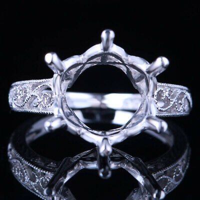 12Mm Round Antique Vintage Silver Art Deco Semi Mount Setting Engagement Ring