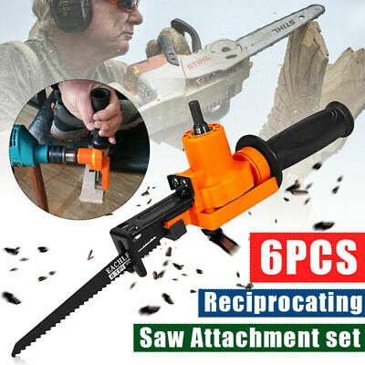 Reciprocating Saw Attachment Adapter Change Electric Drill 2 Blades Cutting Tool