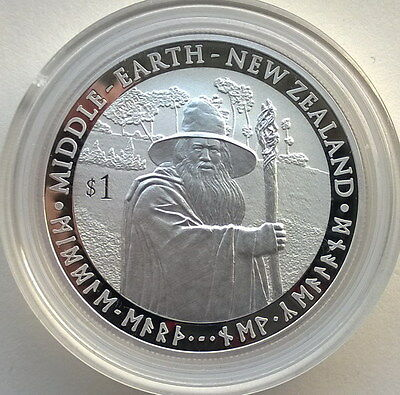 New Zealand 2012 King Ring Middle Earth Dollar 1oz Silver Coins,Proof-C