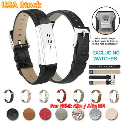 For Fitbit Alta / Alta HR Genuine Leather Watch Strap Replacement Wrist Band USA