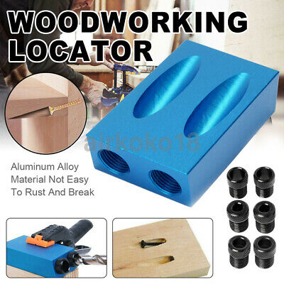 14pcs Dual Pocket Hole Jig Kit 6/8/10mm 15° Angle Adapter for Woodworking Guide