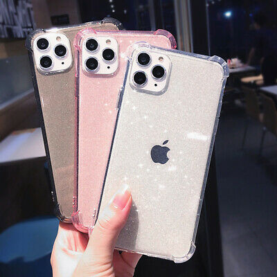 For iPhone XS Max XR X 8 7 6S Plus Slim Clear Glitter Silicone Soft Case Cover