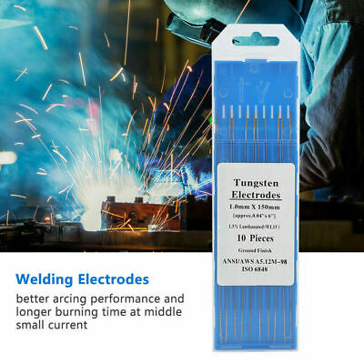 10pcs TIG Welding Tungsten Electrode 2% Thoriated Gold 1.0mm~3.2mm 150/175mm ecl