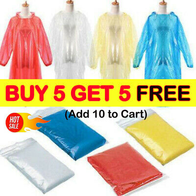 DISPOSABLE Poncho Rain Coat Festival Camping Emergency Waterproof Outdoor Hike K