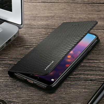 Huawei P30/P20/Mate20 Ultra-Thin Magnetic Carbon Fiber Leather Flip Case Cover