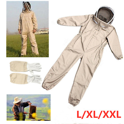 Full Beekeeping Suit Bee Suit Heavy Duty Leather Ventilated Keeping Gloves AU