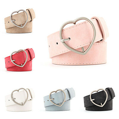 Ladies Women Heart Buckle Belt Dress Jeans Faux Leather Waistband Stock Red HQ