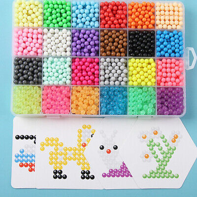 3000-5000 SUPER REFILL Aquabeads Water Fuse Beads 24 SEPARATE Color Packing UK