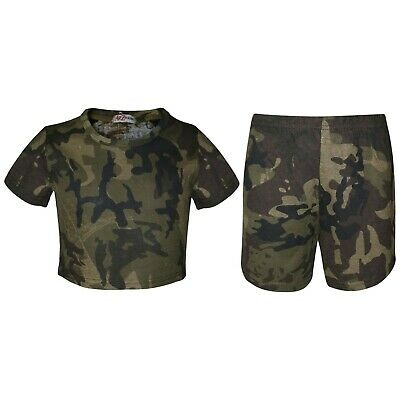 Kids Girls Crop Top & Shorts Camouflage Green Fashion Summer Outfit Sets 5-13 Yr