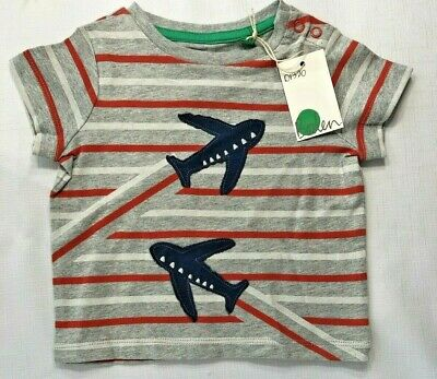 0a662567b NWT Mini Baby Boden Boys 3-6 Months Gray Stripy Airplane Applique Shirt