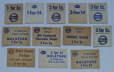 1900's Necco Candy Lot of 12 different Coupons