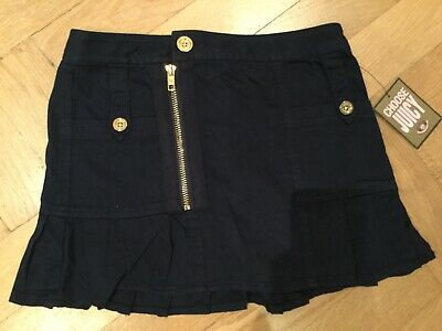 NWT Juicy Couture New & Genuine Girls Age 8 Blue Cotton Skirt With Gold Buttons