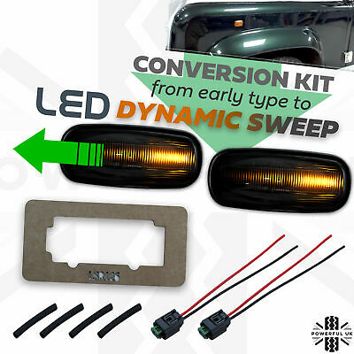 Upgrade KIT Dynamic sweep LED Side Repeater Indicator Smoked light fits Defender