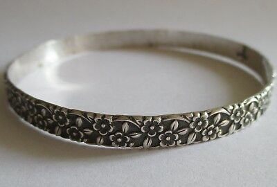 Vtg Antique Art Nouveau Sterling Silver Forget Me Not Flower Bangle Bracelet