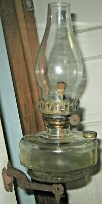 Antique Victorian Cast Iron Oil Lamp Wall Sconce Oil Lamp Hurricane Glass Shade