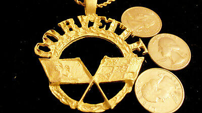 bling gold plated sport car sign corvette pendant charm hip hop necklace jewelry